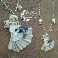 White Mermaid with Dolphin Polymer Clay by Nakihra