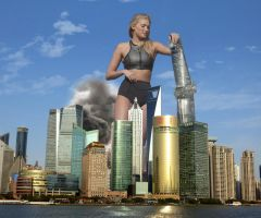 Elsa Hosk - Toppling skyscrapers in Shanghai by Natkatsz