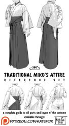 Traditional miko's attire reference set by Kate-FoX