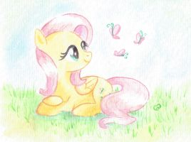 Fluttershy Watercolor Practice by equinepalette