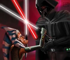 Ahsoka vs Darth Vader by TheBabyDragons