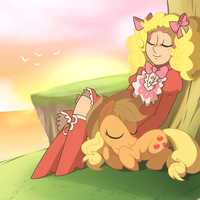 CSImadmax Comission: Applejack and Candy Candy by alfredofroylan2