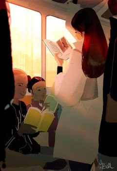 Train reading by PascalCampion
