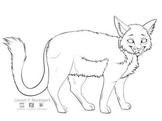 Free Cat Line Art by Blacktiger5
