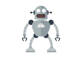 Cartoon Robot Free Vector Illustration by superawesomevectors