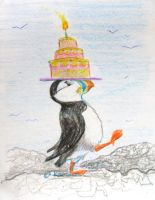 Critters Lugging Stuff Around 1: Birthday Puffin by metasilk