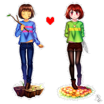 Frisk and Chara by Poppypraise