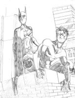 NightWing and Batgirl by Ari-Spike-Nadelman