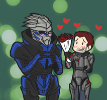 Garrus and Shepard by Mikkynga