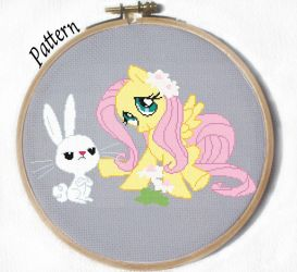 Fluttershy and Angel cross stitch pattern by JuliefooDesigns