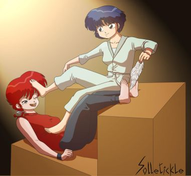Ranma tickled by Akane by solletickle
