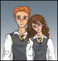 Ron and Hermione -- A Portrait by honeydukes