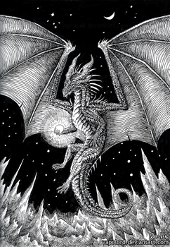Inktober #18 Space-Dragon by Vapolord