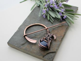 Penannular Brooch - Copper and Lapis Lazuli by AbbyHook
