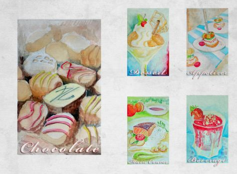 Appetizers, Main dishes and Desserts Water Color by ahdhan