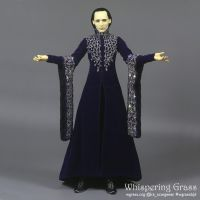 Elven Deep Purple Velvet Dress with Beads Embroide by scargeear