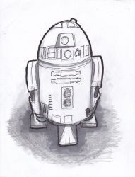 R2 D2 B/W drawing 2018 by Poorartman