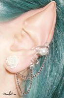 Ear Cuff with white pearl and flower by AmeliaLune