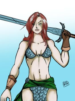 Red Sonja by thehaloequation