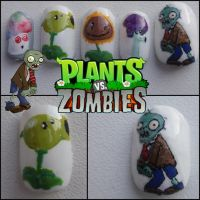 plants vs zombies nails by Ninails