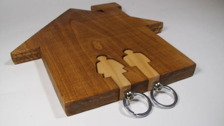 Wall keychain holder in shape of a house with two by matcheslv
