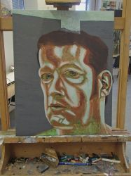 Self Portrait Competition Painting WiP3 by JohnMKimmins