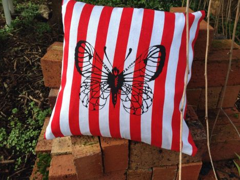 Canvas red and white cushion butterfly screenprint by SewObession