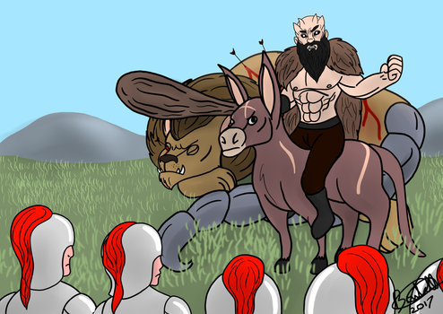 A Giant Berserker, Riding A Donkey, Protecting A M by Brutalwyrm