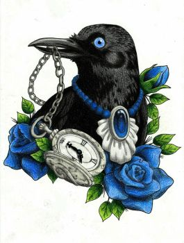 Crow with blue roses by Andorea0505