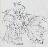 Hiccup, Toothless, and Pips by sailor663