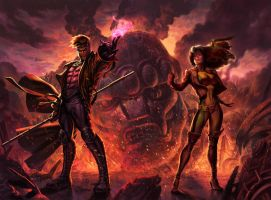 Sideshow: Gambit and Rogue by FabianMonk
