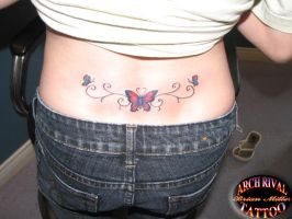 lower back butterfly tattoo by theothertattooguy
