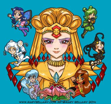 Sailor Galaxia and the Sailor Animates by MaryBellamy