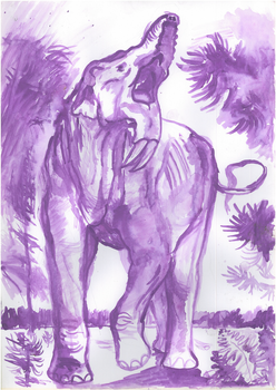 Deinotherium with short trunk aquarell by Waspdrake