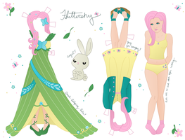 Fluttershy Paper Doll take two by WhiteHeather