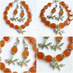 Orange Glass Beaded Fox Jewelry Set by RedSilentWolfJewelry