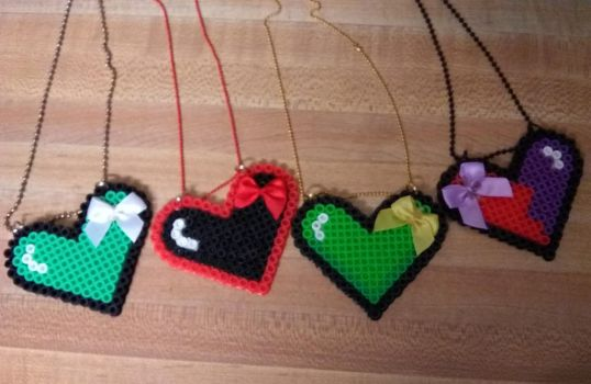Perler bead hearts by Prepare-Your-Bladder