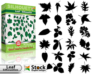 Free Leaf Silhouettes Vector Pack by Stockgraphicdesigns