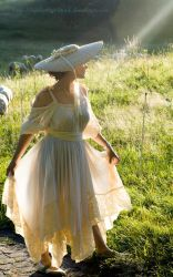 summer sunbeam in straw hat by eyefeather-stock