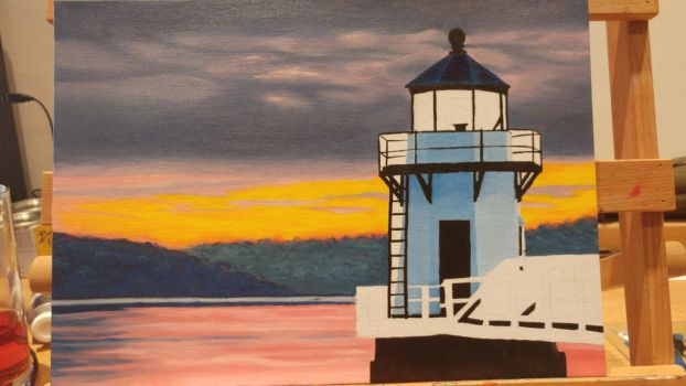 Lighthouse at Dawn WIP (part 3)  by MistressJainali
