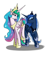 Celestia and Luna by VinaraMic