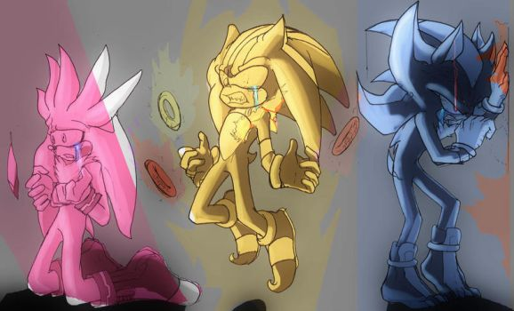 Inktober 5: Sad - SIlver, Shadow and Sonic - by Deimonday