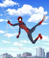 Ultiverse spidey swinging by FakeRobin99