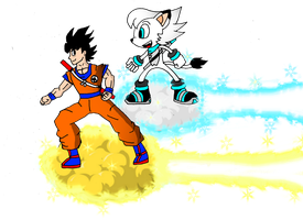 Frost and Goku Nimbus Race by FrostTheHobidon