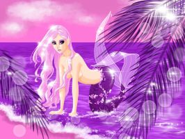 Mermaid at the beach - heavily pink by Smurfbreeder