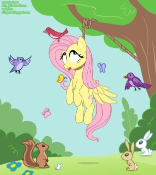 Hanging Fluttershy by S2Xthe5th