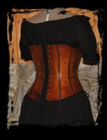 leather corset back view by Lagueuse