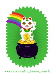 Japanese Lucky Cat Pot of Gold Zazzle Design by KazFoxsen