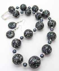 Polymer Clay Black Marbled Bead Necklace by Ravensilver