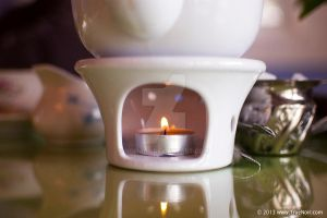 Lit candle in the holder stock image 001 by NoirArt